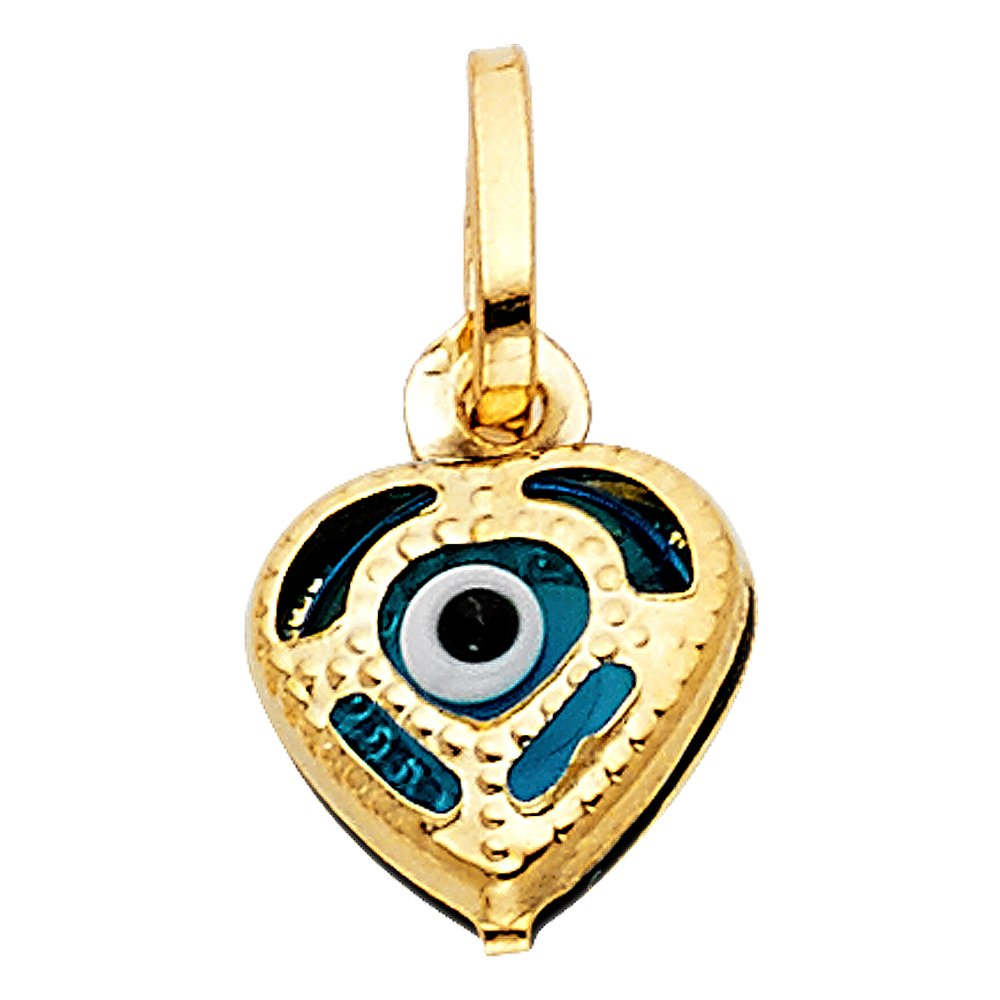 with 18 Rolo Chain 10mm x 10mm Million Charms 14k Yellow Gold Small//Mini Evil Eye Heart Charm Pendant