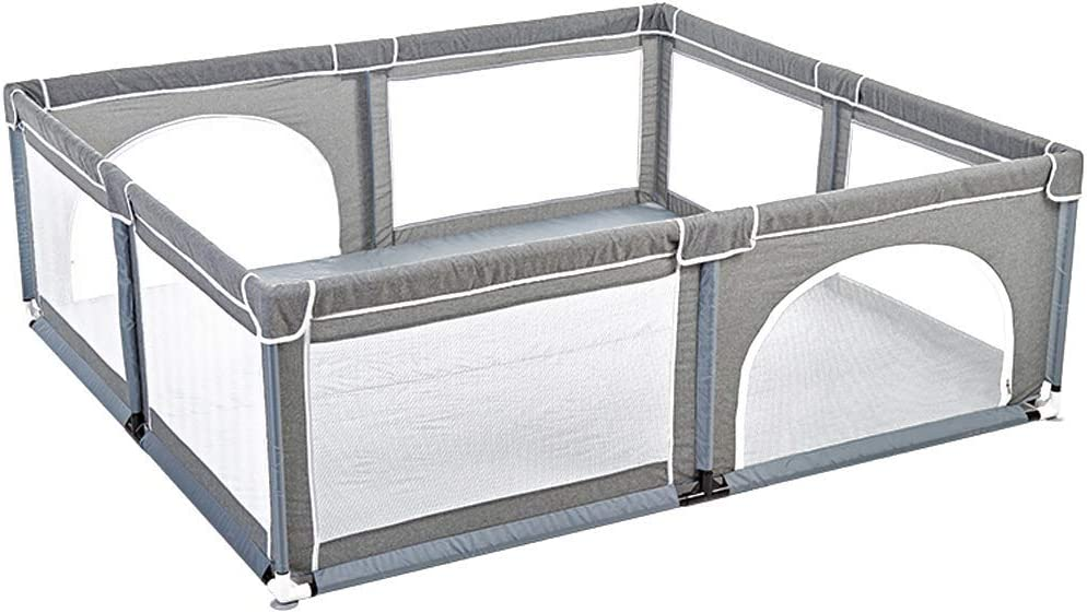 Gray Children Fence Easy Assemble Gift Playpen for Baby and Toddlers, Kids Activity Centre IndooSafety Baby Fence, Non-Slip Rubber Base