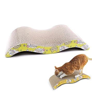 FOONEE - Rascador de Gatos en Forma de S de cartón, Doble Cara, reciclable