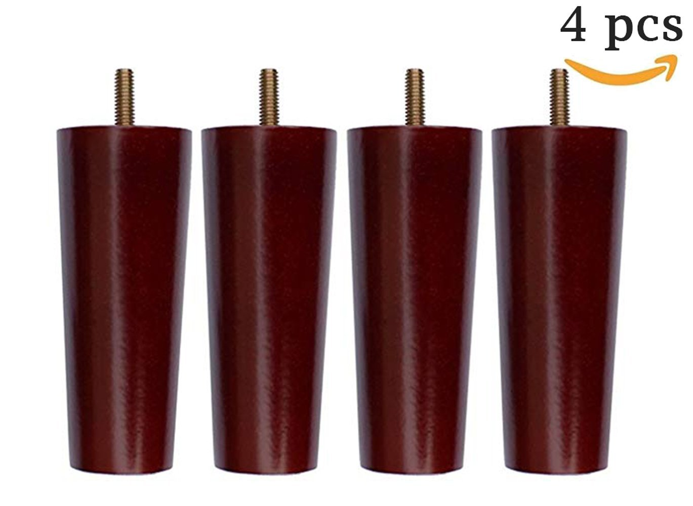 Vencroma Round Wooden Furniture Sofa Legs Modern Wood Solid Tapered Sofa Couch Legs Sofa Legs Replacement, Set of 4