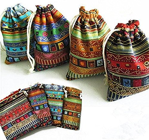 12Pack Egyptian Style Jewelry Coin Pouch Print Drawstring Cotton Sachet Candy Purse - Egyptian Print Fabric