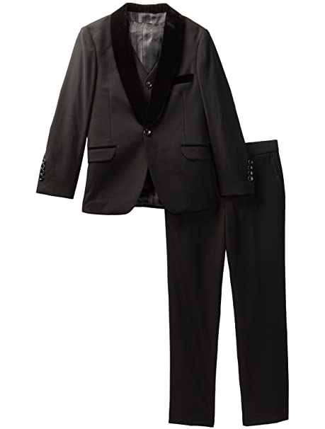 4b802612aeb Isaac Mizrahi Boy s 3 Piece Velvet Shawl Collar Formal Tuxedo Suit Set   Amazon.ca  Clothing   Accessories