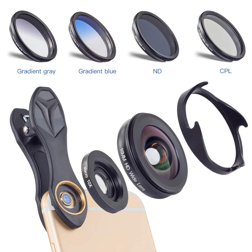 QOUP Mobile Phone Camera Lens,16MM Wide-Angle Macro Polarized Filter Universal External Mobile Phone Lens ND Gradient Set for iPhone Samsung Galaxy HTC