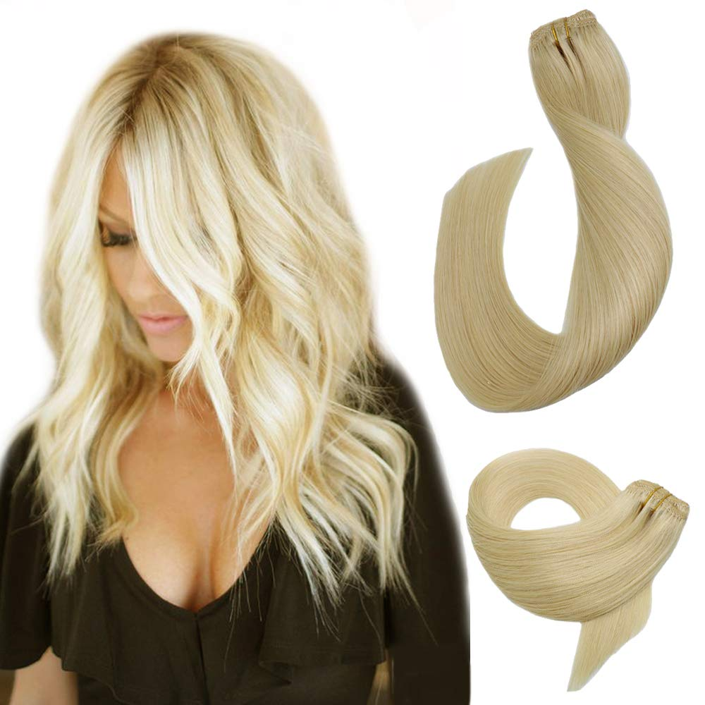 Clip in Hair Extensions Platinum Blonde Real Human Hair Extensions 7 Pieces 70 Gram for Fine Hair Silky Straight Double Weft Remy Hair Extensions Clip on/in for Women /Kids 15 Inch