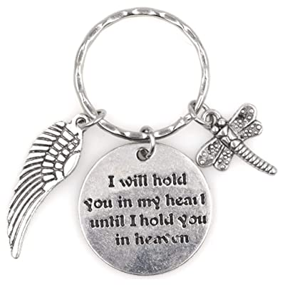 I Will Hold You in My Heart Until I Hold You in Heaven Angel Wing Dragonfly Keychain 115G: Automotive