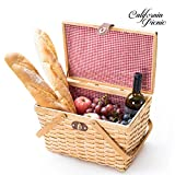 Picnic Basket | Wood Chip Design | Red and White