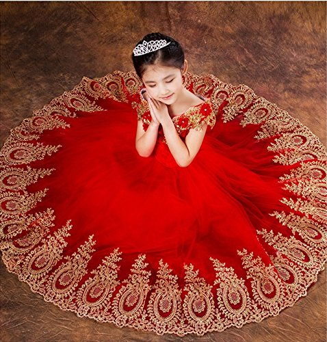 Dresses Girls 2016 Girl Flower for Gold Short Embroidery Red Lace Women's Fanciest zgqv01