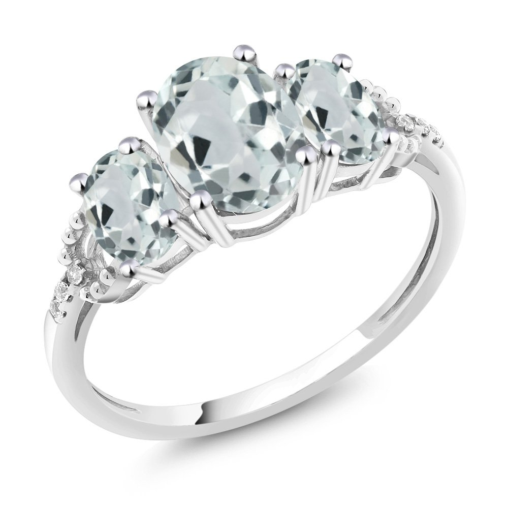 10K White Gold Diamond Accent Three-Stone Engagement Ring set with 2.01 Ct Oval Sky Blue Aquamarine (Ring Size 5)