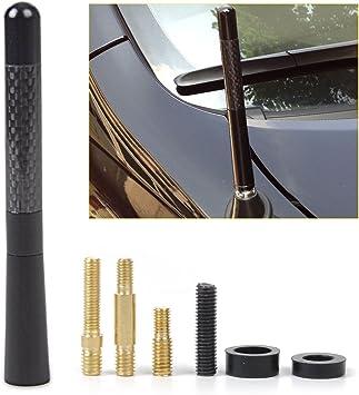 """4.7/"""" Universal Black Carbon Fiber Screw Aluminum Short Car Radio Aerial Antenna"""