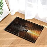 Movie Camera Records the Lost Time Bath Rugs for Bathroom Non-Slip Floor Entryways Outdoor Indoor Front Door Mat 15.7x23.6in Bath Mat Yellow Black