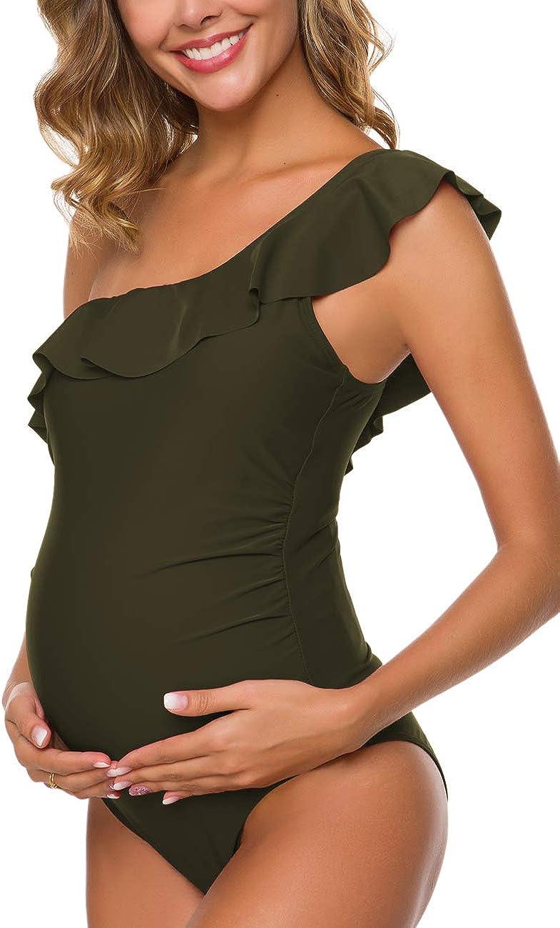 Ziola Women One Piece Maternity Swimsuits One Shoulder Swimwear Asymmetric Ruffle Flounce Monokini Bathing Suits