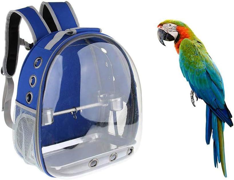 Kuizhiren1 Transportador de Loros para Mascotas, Mochila de Viaje para Mascotas al Aire Libre, Jaula Transparente Impermeable para Transportar pájaros, Azul