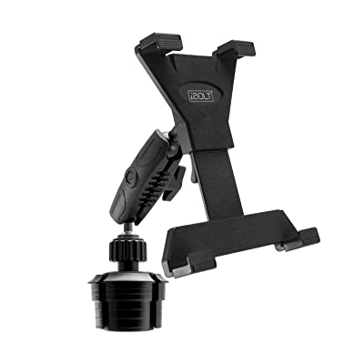 "iBOLT TabDock Console - Heavy Duty Expandable and Adjustable Cup Holder Mount for All 7"" - 10"" Tablets (iPad, Nexus, Samsung Tab). Great for Work, Personal, and Business Vehicles"