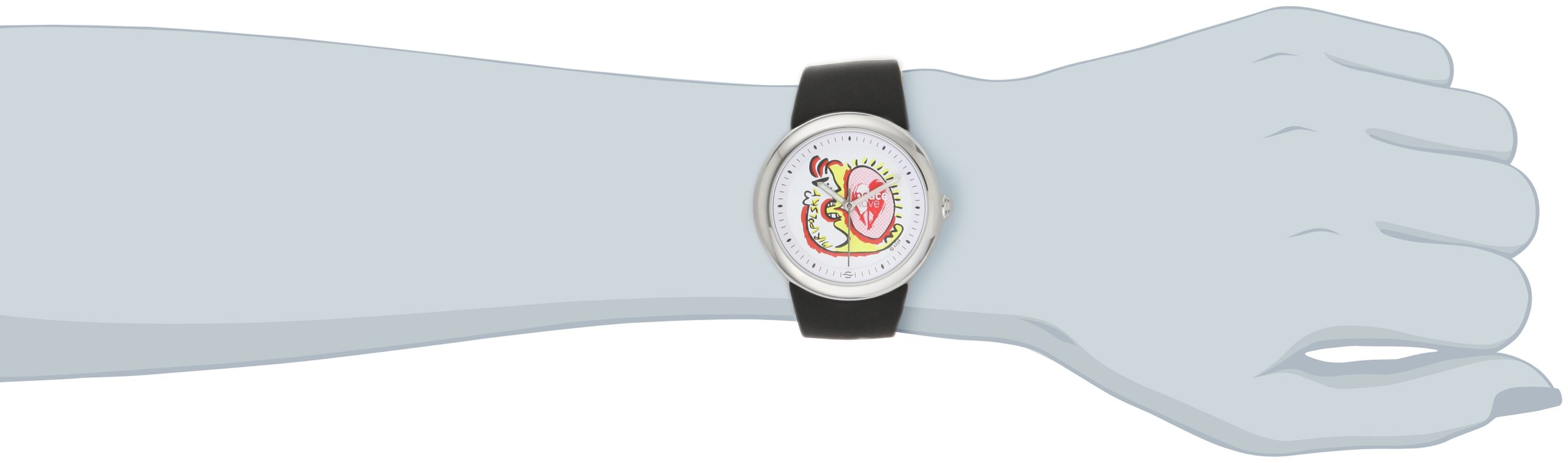 PeaceLove Unisex F36S-PL-B  Round Stainless Steel Black Silicone Strap and ''Miripolsky'' Art Dial Watch by Love & Peace (Image #2)
