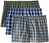 Fruit of the Loom Boys' 3Pack Covered Waist Plaid Boxers Underwear XL