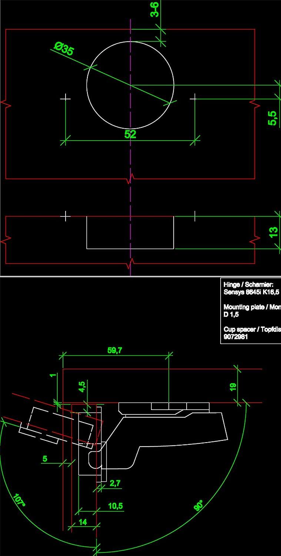 Hettich Sensys 8645i TH52 110 Grado Arremetida Bisagra 9071207 Autom/ática con Amortiguaci/ón Integrada Mecanismo de Cierre Autom/ático para Puerta Mueble Armario Juego de 2