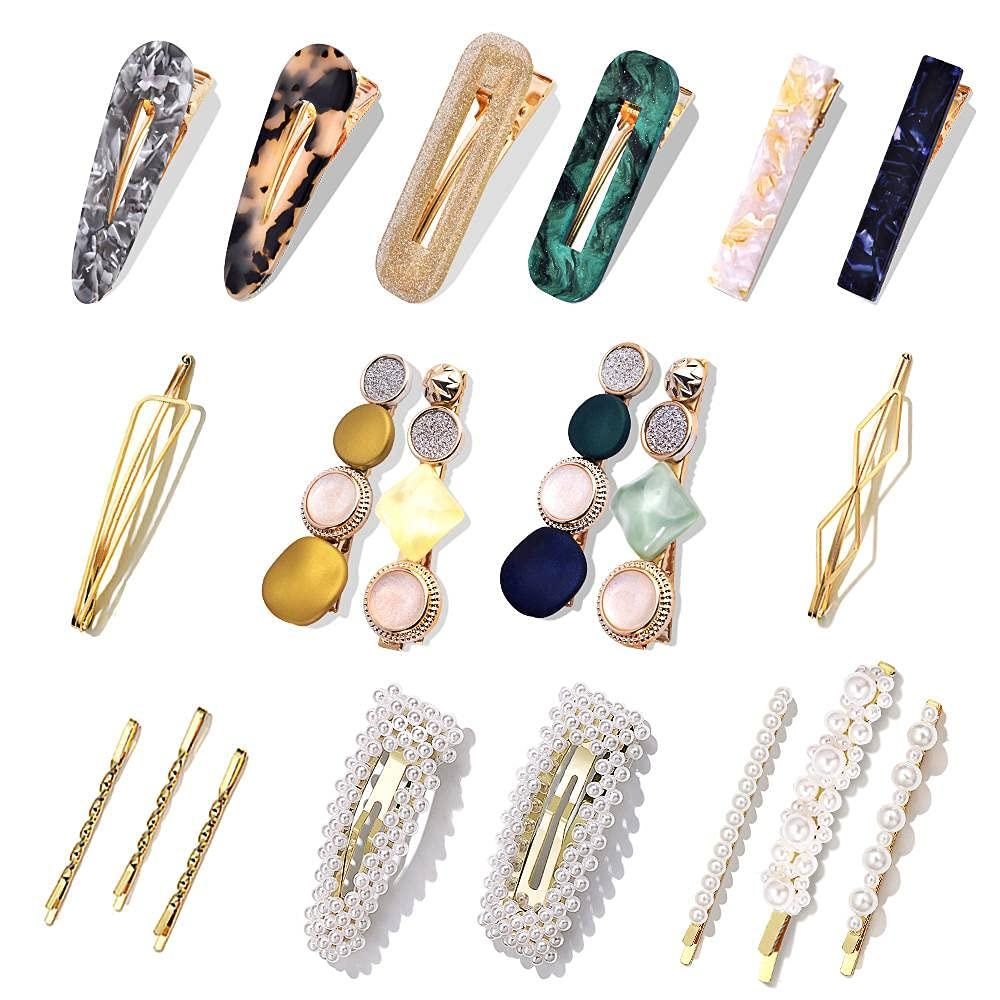20 Pack Hair Accessories, Fashion Korean Pearl Hair Clips, Acrylic Resin Macaron Barrettes for Women : Beauty