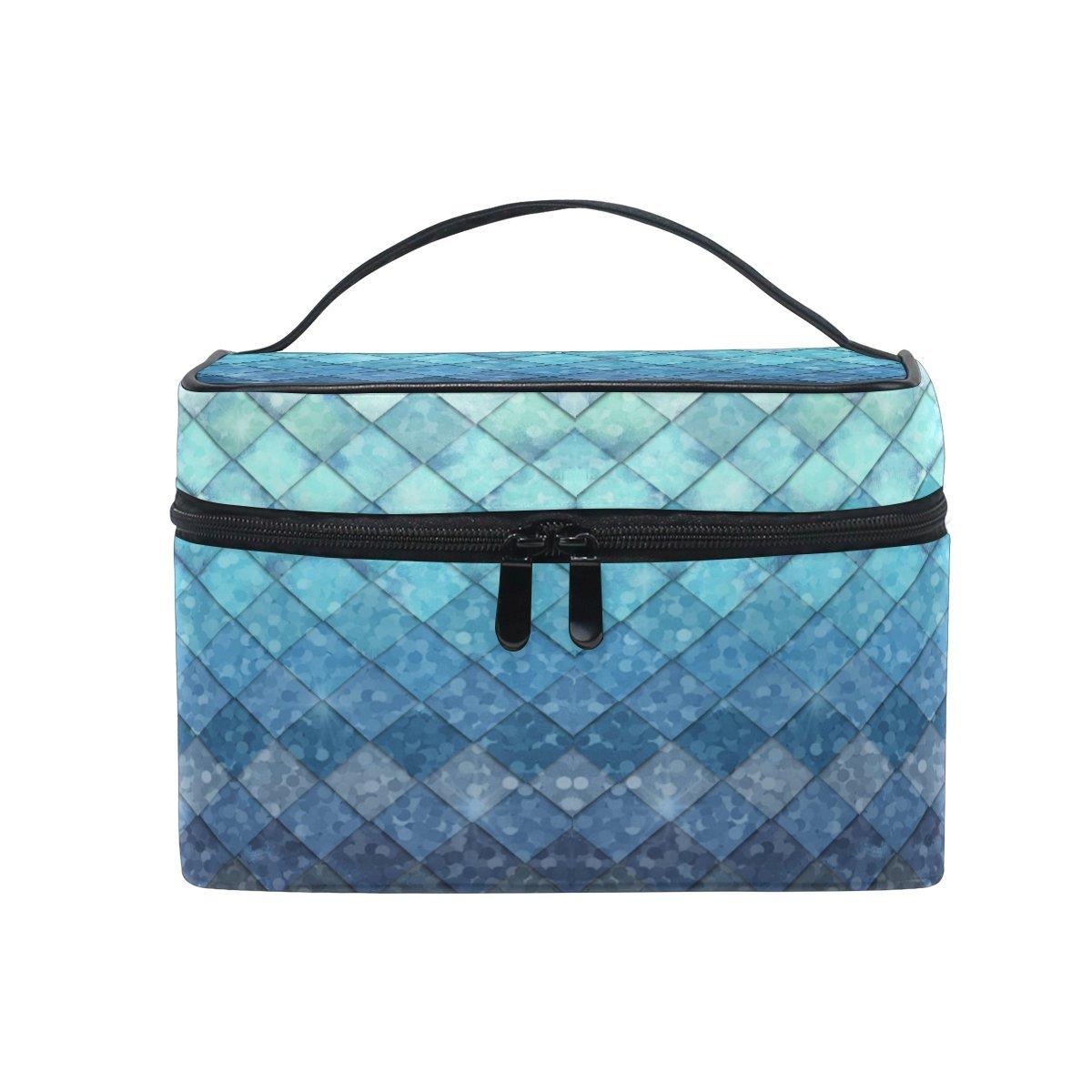 ZOEO Makeup Train Case Royal Blue Mermaid Scales Geometric Rhombus Korean Carrying Portable Zip Travel Cosmetic Brush Bag Organizer Large for Girls Women