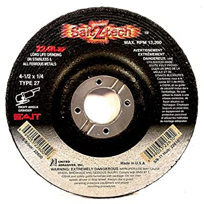 SAIT 22600 Type 27 4-1/2-Inch x 1/4-Inch x 7/8-Inch 13300 Max RPM Z-Tech - Z24R Zirconium Depressed Center Grinding Wheels, 25-Pack