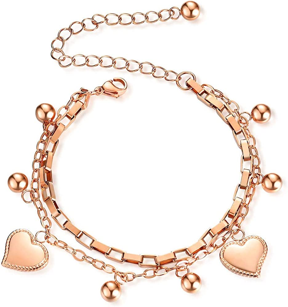 Jude Jewelers Stainless Steel Heart Charm Box Chain Adjustable Size Strand Bracelet