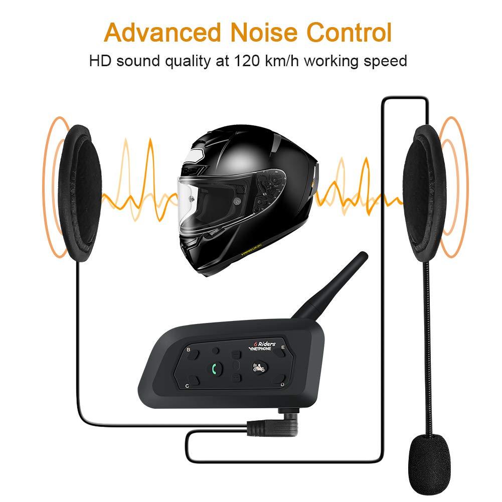 Musica(1pack) VNETPHONE BT V6 interfono bluetooth per Ski Moto Casco,Supporta la comunicazione fra 6 motociclisti ad una distanza di 1200m Compatibile con GPS