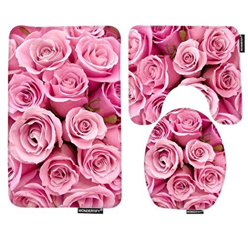 WONDERTIFY Bath Mat,Rose,Pink Roses Bathroom Carpet Rug,Non-Slip 3 Piece Bathroom Mat Set