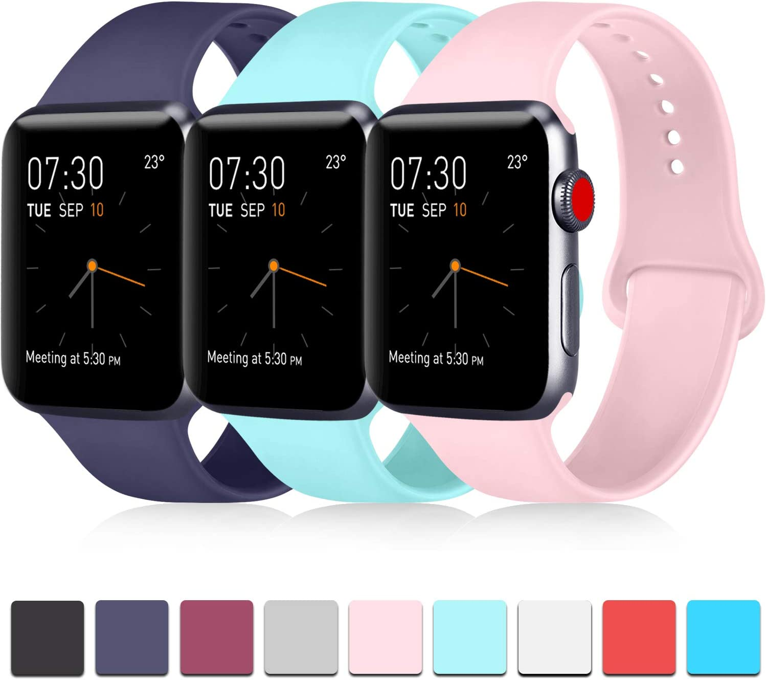Pack 3 Compatible with Apple Watch Band 38mm 40mm 42mm 44mm, Soft Silicone Band Replacement for Apple iWatch Series 4, Series 3, Series 2, Series 1