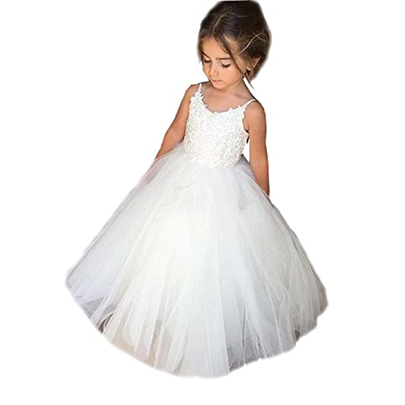 kengtong Straps Summer Flower Girl Dress Tulle Ball Gowns for First Communion Party