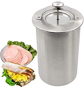 Press Ham Maker - Joyeee Round Shape Stainless Steel Ham Press Maker Machine for Making Healthy Homemade Deli Meat with Thermometer, Seafood Meat Poultry Patty Gourmet Cooking Tools