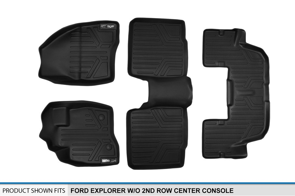SMARTLINER Floor Mats 3 Row Liner Set Black for 2015-2016 Ford Explorer without 2nd Row Center Console MAXLINER A0161//B0082//C0082