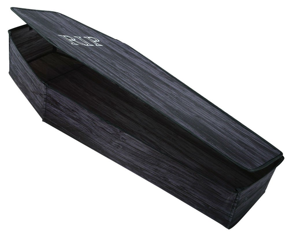 Coffin with Lid 60 Inch Wooden-Look RIP Graveyard Halloween Prop Haunted House NEWEST