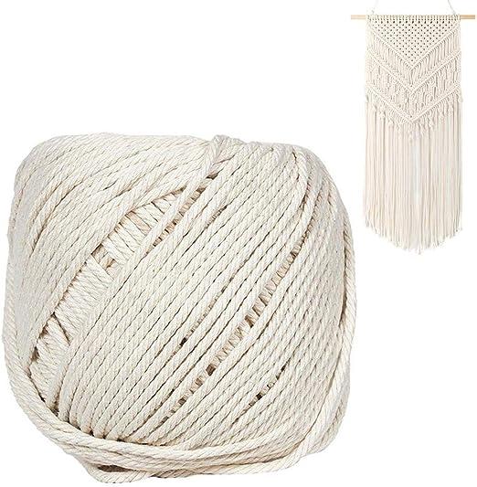 Zhuotop - Cordón de macramé de 3 mm x 100 m de algodón Natural ...