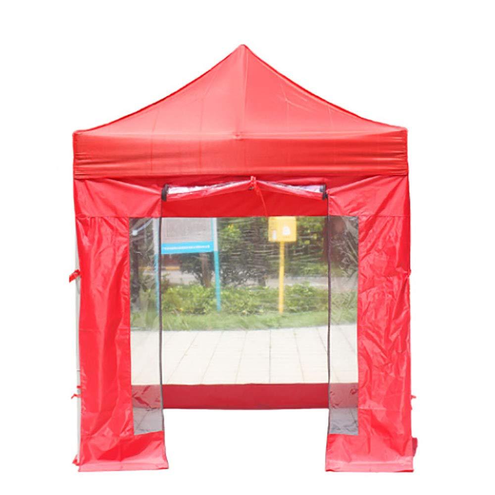 屋外テントオックスフォード布大人子供4フィート折りたたみオーニング格納式防風防雨 - 4透明布 B07TR3G635 red 200*200cm