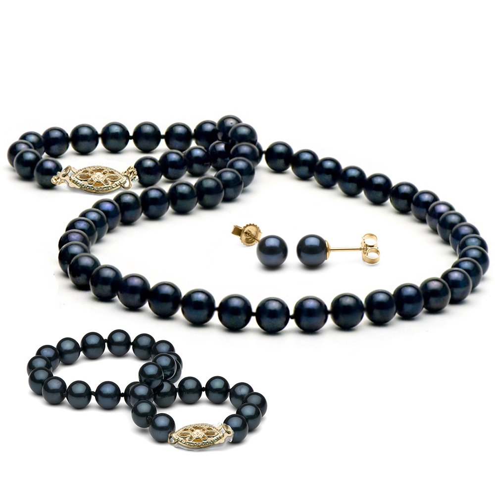 14K Cultured Saltwater Black Akoya Pearl 3-Piece Jewelry Set, 6.0-6.5mm, 16-Inch Necklace, Yellow Gold by Pure Pearls
