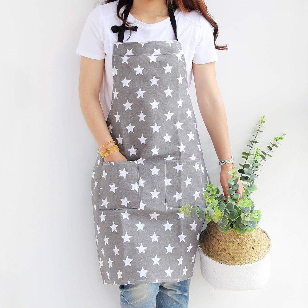 in Cotone e Tela Cucina Grembiule da Donna con Due Tasche per cuochi Motivo a Stelle Grill e Forno Grey Dusenly