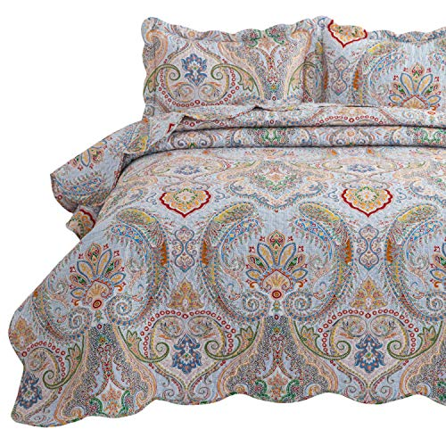 Bedsure 3-Piece Bohemia Paisley Pattern Quilted Bedspread Queen/Full Size (90x96 inches), Lightweight Coverlet Quilt for Spring and Summer,1 Quilt and 2 Pillow Shams (Sets Bedspread Quilted)