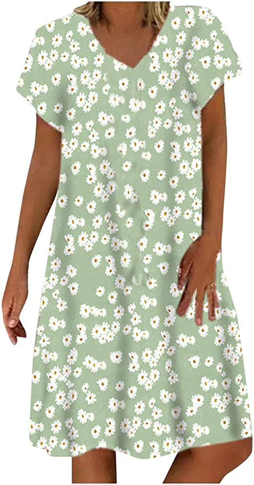Briskorry Sommerkleid Leinen Kleider Damen Elegant Casual V Ausschnitt Strandkleider Einfarbig Blumen A Linie Kleid Boho Knielang Kleid Amazon De Elektro Grossgerate