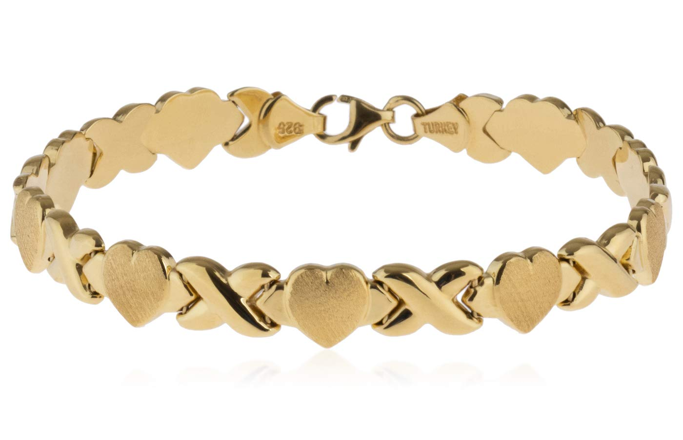 SilverLuxe 18kt Gold Plated 925 Sterling Silver Hugs and Kisses XOXO Bracelet