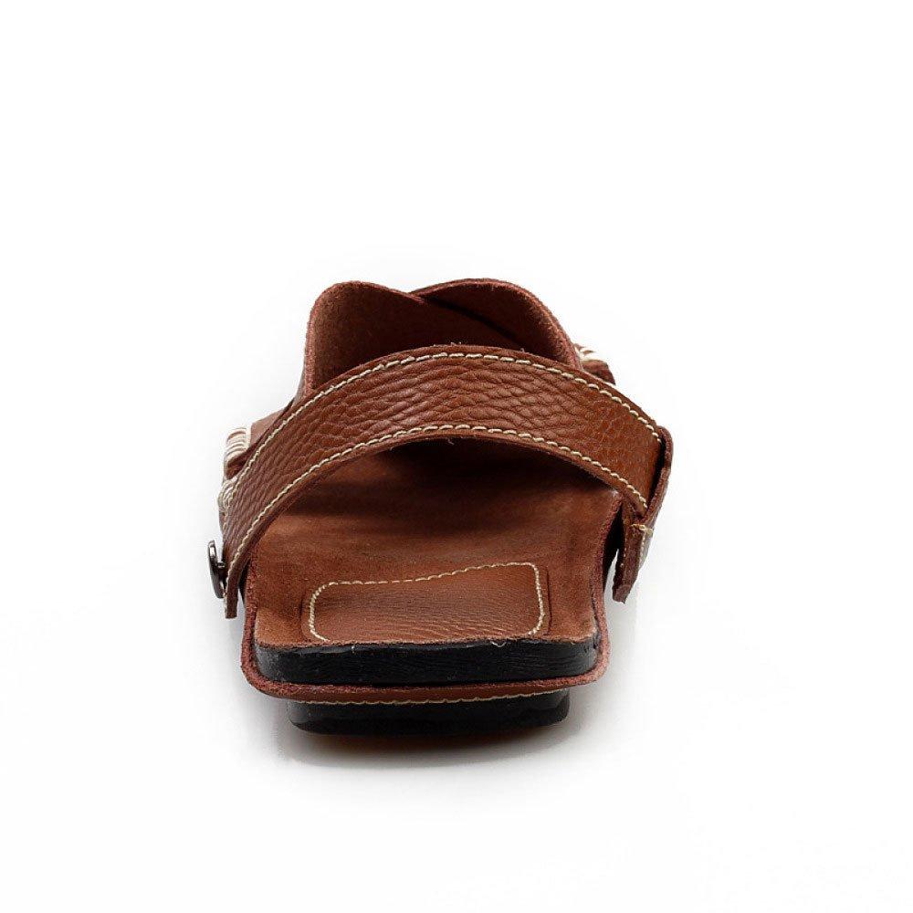 LEDLFIE Sommer Herren Strand Schuhe Casual Rutschfeste Slipper Nähen Atmungsaktive Handarbeit Nähen Slipper Sandalen Braun 82a559