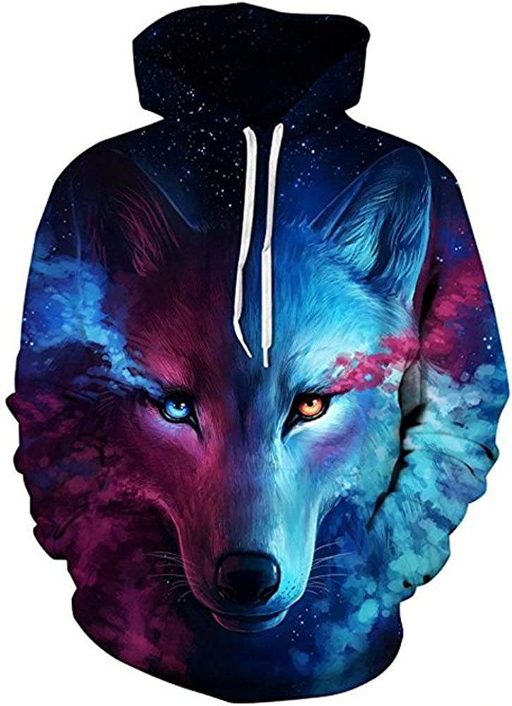 Galaxy Werewolf Print Hoodie Wolf Style Sweatshirt