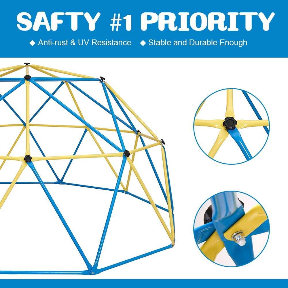 Safe for 1-6 Kids Climbing Dome Rust and UV Resistant Steel Frame Outdoor Kids Jungle Gym 750 LBS Weight Capacity Albott 10 x 5 Geometric Dome Climber