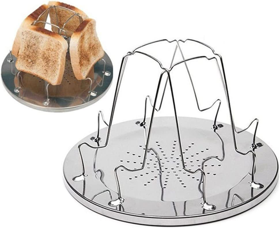JVSISM 4 rebanadas Que acampan la Bandeja de la Tostada del Pan de Las Estufas de Gas Cocina Que acampa Que acampa de la tostadora