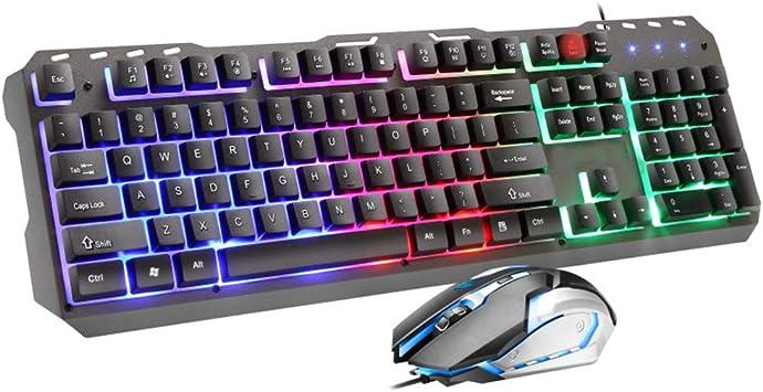 YZL Juego de teclado y ratón con cable, panel de metal con ...