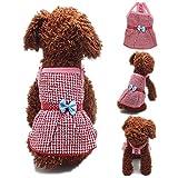 FuzzyGreen Cute Puppy Dress, Medium Red Plaid Polka Dot Bowknot Ribbon Braces Best Skirt Sundress for Pet Dog