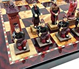 HPL Oriental Terracotta Army Warriors Chess Set w/ 18' Cherry & Burlwood Color Board