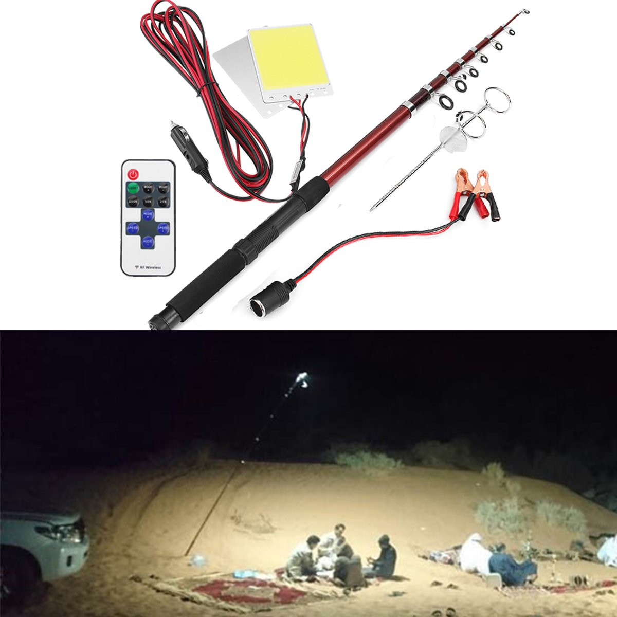 HITSAN 12V 296W Telescopic Fishing Lamp Car Rod Light LED Camping Lamp Remote Controller Car Lantern One Piece by HITSAN