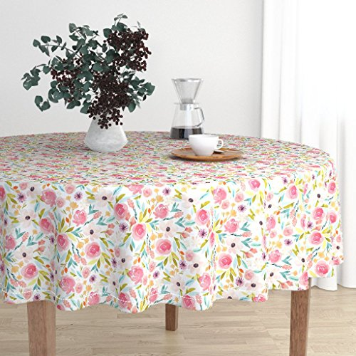 - Roostery Round Tablecloth - Bloom Bloom Floral Spring Pink Indy Bloom Design Spring Bedding Crib Sheet by Indybloomdesign - Cotton Sateen Tablecloth 90in