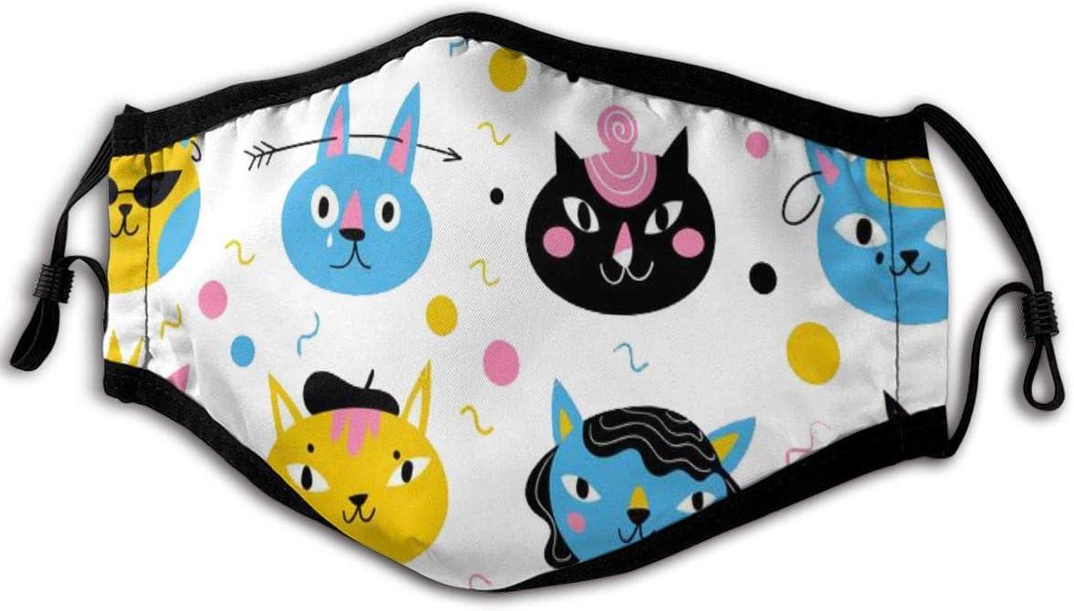 Patrón para textiles o papel de fondo con gatos Personajes Máscaras faciales Máscaras de seguridad lavables reutilizables Protección contra el polvo Polen Caspa de mascotas Otros aerotransportados