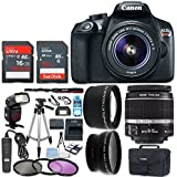 Canon EOS Rebel T6 Digital SLR Camera with 18-55mm IS II Lens + Wide Angle Lens + Telephoto Lens + Flash + 48GB SD Memory Card + UV Filter Kit + Tripod + Full Accessory Bundle (CERTIFIED REFURBISHED)