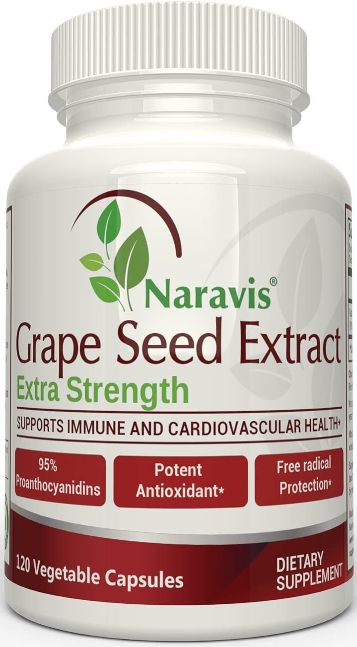 Naravis Grape Seed Extract – 400 mg – 120 Veggie Capsules – 95 Proanthocyanidins – All Natural – Non-GMO Antioxidant Supplement